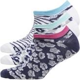 Fruit Cake Fruitcake Womens Animal Print Three Pack Trainer Liner Socks White