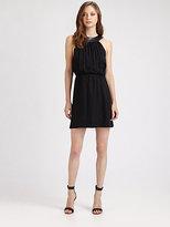 Alice + Olivia Ayla Silk and Leather U-Neck Dress