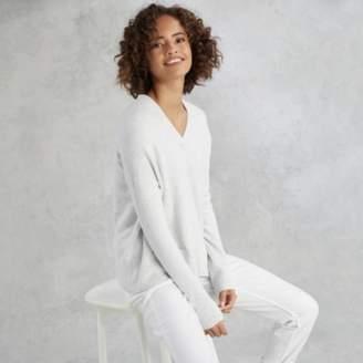 The White Company Cosy V-Neck Pocket Jumper with Alpaca , Cloud Marl, 14