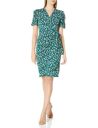 Lark & Ro Amazon Brand Women's Gathered Puff Sleeve Wrap Dress