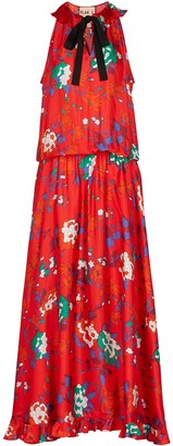 Plan C Red floral-print satin maxi dress