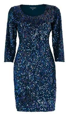 Dorothy Perkins Womens Blue Sequin Scoop Neck Bodycon Dress, Blue