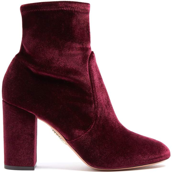 Aquazzura So Me 95 velvet ankle boots