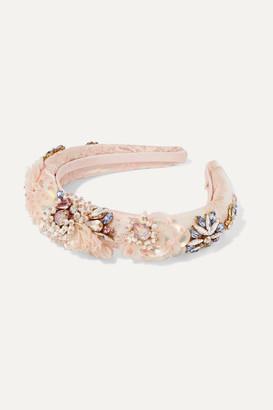 MaryJane Claverol Versailles Embellished Satin-jacquard Headband - Pink