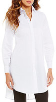 Cupio Trapeze Button Front Long Sleeve Tunic Blouse