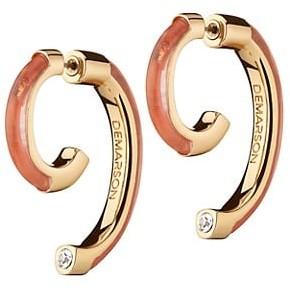 DEMARSON Luna 12K Goldplated & Quartz Convertible Swirl Earrings