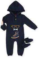 Andy & Evan Hooded Graphic Coverall, Navy, Size 3-24 Months