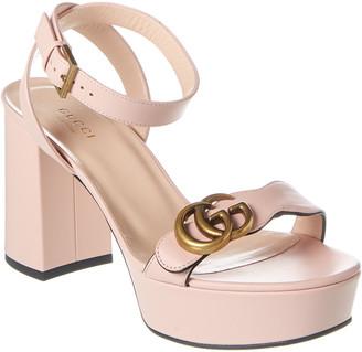 Gucci Gg Leather Platform Sandal