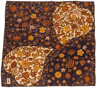 One Kings Lane Vintage Yves Saint Laurent Heart Silk Scarf - Vintage Lux - brown/gold/pink