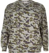 River Island Womens Plus green camo sweatshirt