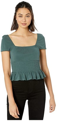 BCBGeneration Square Neck Short Sleeve Knit Top THH1242306 (Forest) Women's Blouse