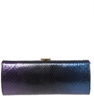 Jimmy Choo Tri Color Ombre Python Twill Tube Clutch