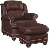 Home Styles Beau Faux Leather Chair and Ottoman in Brown