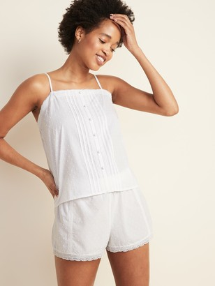 Old Navy Swiss-Dot Lace-Trim Cami & Boxer Shorts Pajama Set for Women