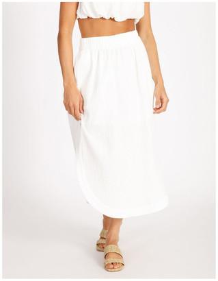 Milk and Honey Side Split Elastic Waist Linen Blend Midi Skirt