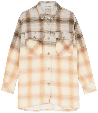 Free People Anneli Checked Woven Cotton Overshirt