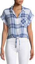 Rails Amelie Plaid Linen Button-Down Top