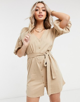 ASOS DESIGN mini dress with bubble sleeve and tie belt in camel