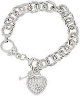"""Judith Ripka Sterling 8"""" Heart & Key CharmBracelet 36.9g"""