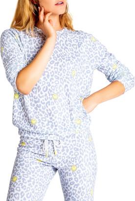 PJ Salvage Animal Print Smiley Sweatshirt