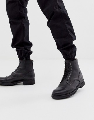 Grenson joseph toe cap boots in black leather