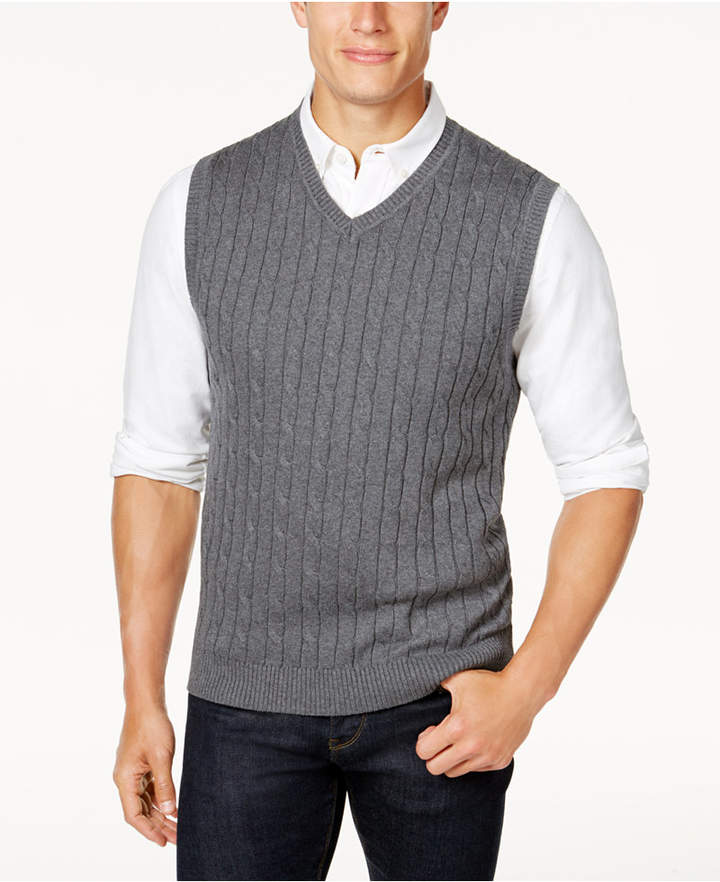Club Room Men's Cable-Knit Cotton Sweater Vest, Created for Macy's