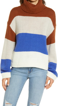 Lulus Color Me Cozy Stripe Turtleneck Sweater