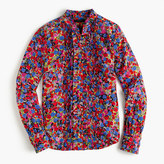 J.Crew Ruffle silk top in blurred floral print