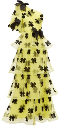 Rodarte Bow One-shoulder Tiered Tulle Gown - Yellow Multi