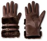 Thinslate Women's Fur Trim Glove Dark Brown - Merona