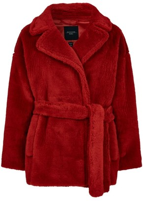 Max Mara Wool-Blend Faux Fur Belted Coat