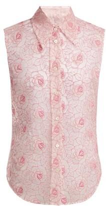 Miu Miu Floral-lace Point-collar Sleeveless Shirt - Womens - Pink