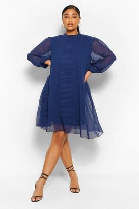 boohoo Plus Dobby Mesh Puff Sleeve Smock Dress