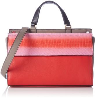 Calvin Klein Jeans Women's SHARI SNAKE Small Flap Satchel Handbags 25 x 17 x 12 cm Red Size: 25x17x12 cm (B x H x T)