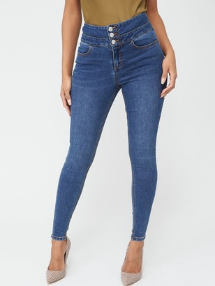 Very Macy High Waisted Skinny Jeans - Mid Wash