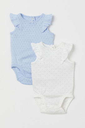 H&M 2-pack Ruffled Bodysuits - Blue