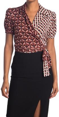 Diane von Furstenberg Indigo Mixed Print Silk Blend Wrap Shirt
