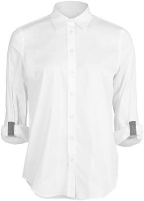 Brunello Cucinelli Monili Tab Sleeve Cuff Button Up Blouse