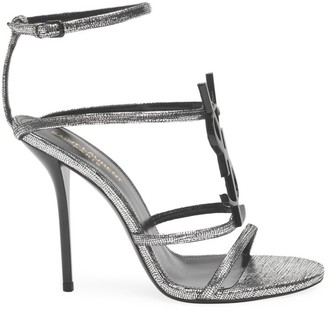 Saint Laurent Cassandra Metallic Leather Sandals