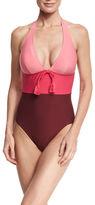 Kate Spade Colorblock Halter One-Piece Swimsuit