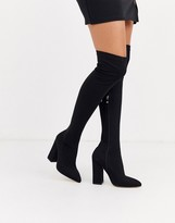 Simmi Shoes Simmi London black stretch block heel over the knee boots