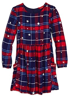 Joules Girls' Rowena Star Print Plaid Dress - Little Kid, Big Kid