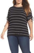 Vince Camuto Plus Size Women's Drawstring Sleeve Stripe Top