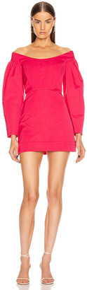 Dion Lee Cinched Ruffle Mini Dress in Cerise | FWRD