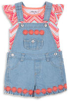 Little Lass Girls 2-6x Two-Piece Printed Top and Denim Shortall Set