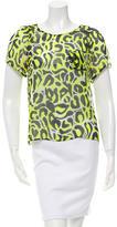 Gryphon Leopard-Print Silk Top