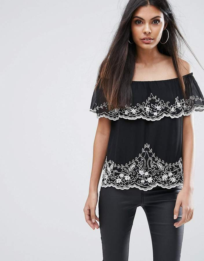 Lipsy Off Shoulder Top With Beading