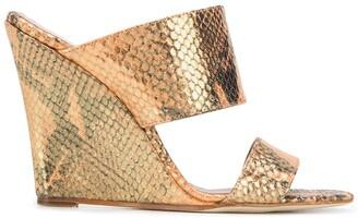 Paris Texas Snake-Effect Wedge Sandals