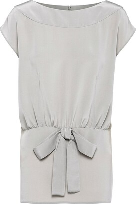 Prada Bow-Detail Short-Sleeve Top