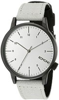 Komono Unisex KOM-W2120 Winston Heritage Series Stainless Steel Watch With Grey Canvas Band